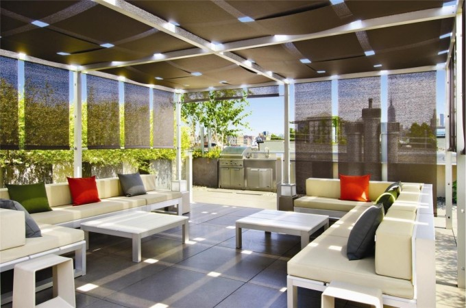Shades keep this modern outdoor space cool