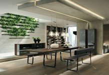Modern dining area enhanced with plant wall