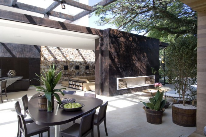 A semi-enclosed modern outdoor space