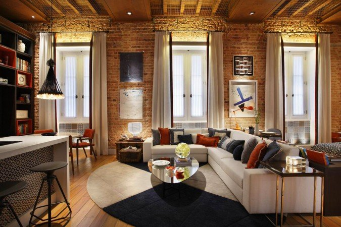 Exposed brick warms this room