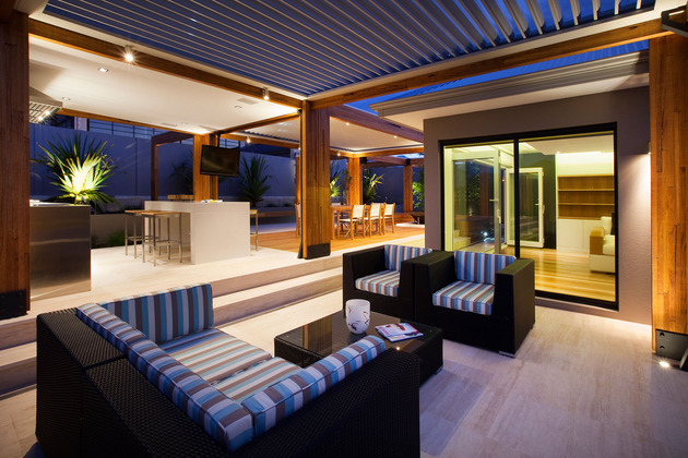 Beautifully illuminated modern outdoor living space