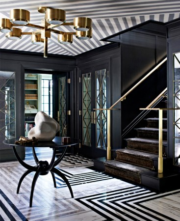 Strong patterns and gold in this Kelly Wearstler entryway