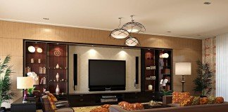 The television integrates into this room design