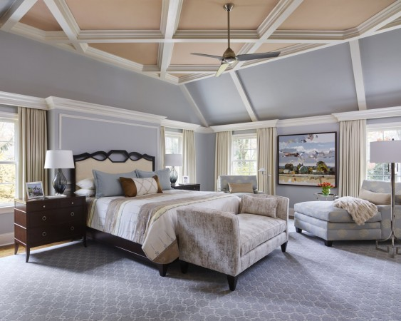 Lighter colors create a serene vibe for the bedroom