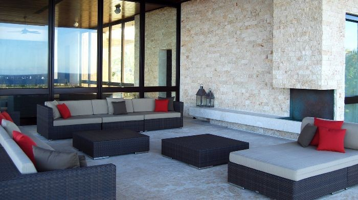 Modern seating makes this outdoor space a comfortable space to gather