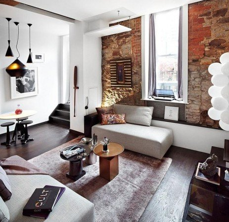 Brick adds texture and dimension to this interior