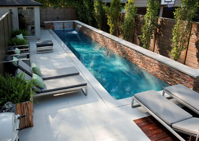 A narrow pool is just right for this modern outdoor space