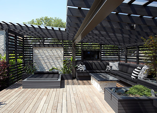 Covered area ideal for this modern outdoor space