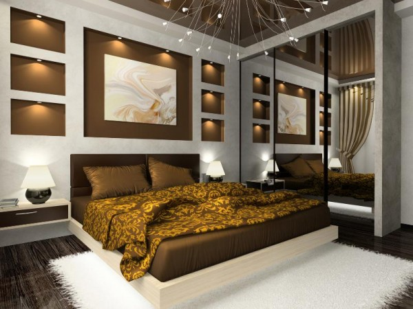 Warm browns and creative lighting enhance this bedroom space