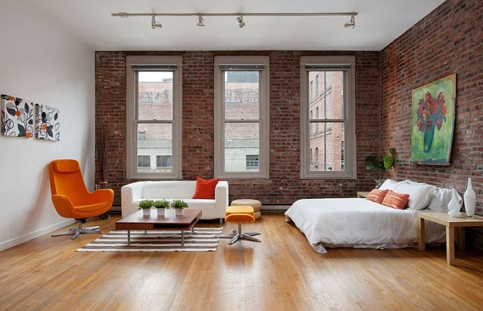 Exposed brick walls in a loft home