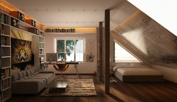 A multi-purpose room in an attic space
