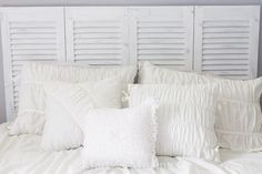 headboard with recycled shutters