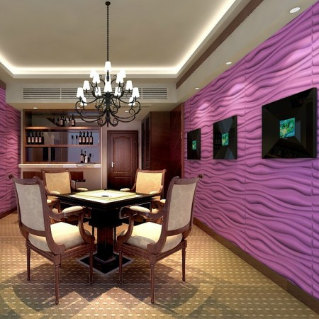 Vibrant textured walls panels enliven a space