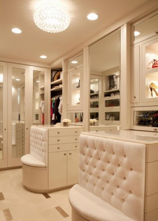Seating in a walk-in closet aids with dressing