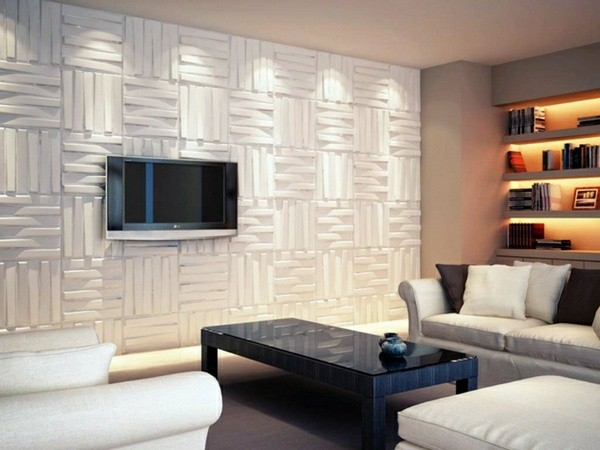 An accent wall with textured panels