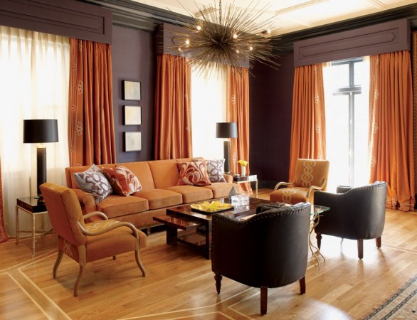 Burnt orange and chocolate brown infuse this room with autumn warmth
