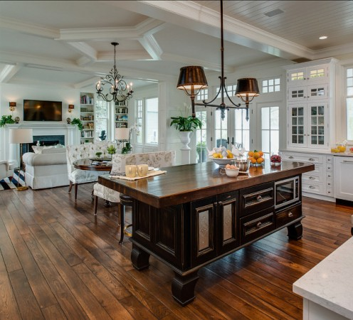 Kitchen island divides the space in this open floor plan