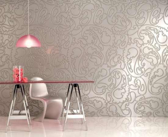 Shimmering textured panels enliven a wall