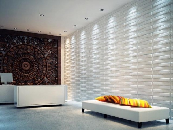Texture adds dimension to this room via 3D wall panels
