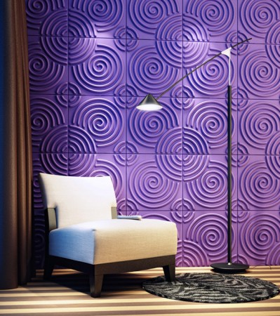 Purple swirled textured wall panels