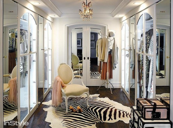 Decorative touches exude glamour in this walk-in closet