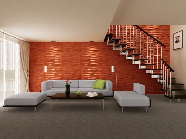 Bright orange textured panels wake up this modern space