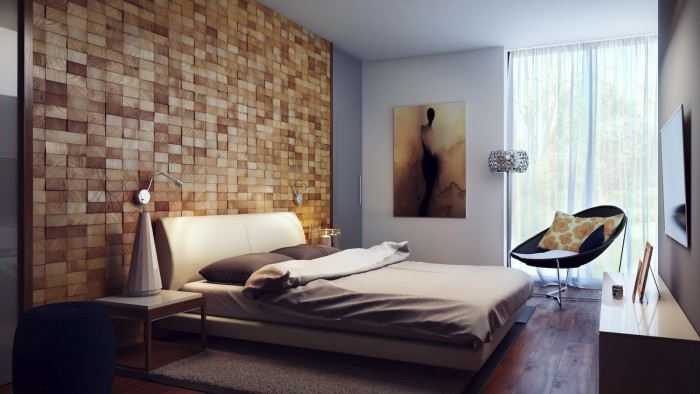 3D wood panels enhance this bedroom