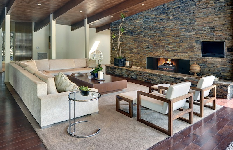 Blo Stonework Adds Texture And Wood Creates Warmth In This Modern Rustic E