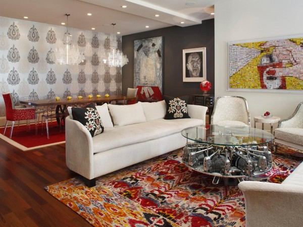 Unique furnishings enhance this avant garde room