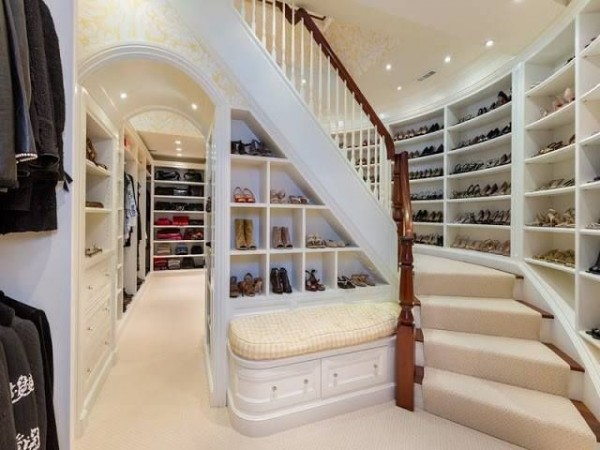 A two-story walk-in closet