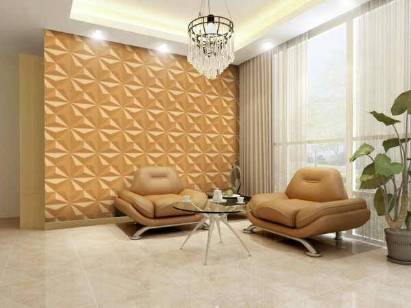 3D wall panels add geometric color to this interior
