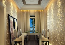 Textured 3D panels highlight the walls of this dining area