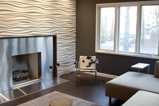 A fireplace surround is a great place for utilizing 3D panels