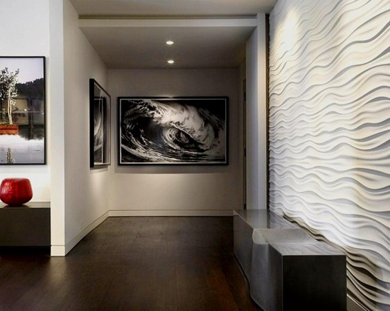 A hallway is enhanced with textured wall panel