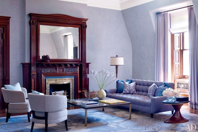 Beautiful purple hues highlight this Jamie Drake living room