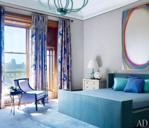 Purple and blue combine in this bedroom designed by Jamie Drake