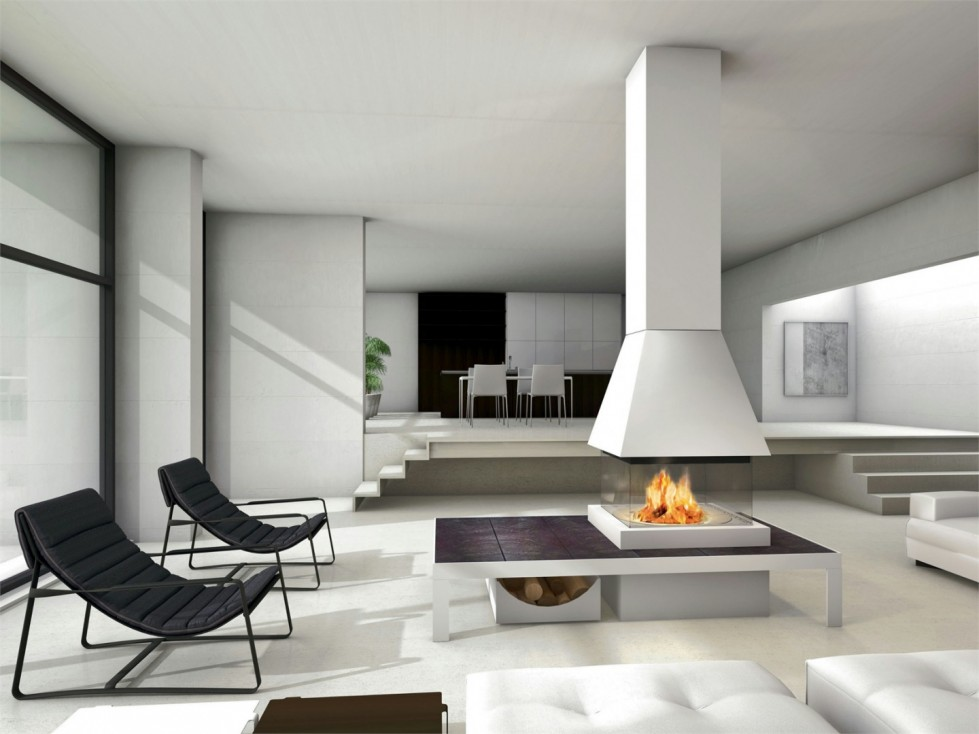 Modern fireplaces for stunning indoor and outdoor spaces - Living room with fireplace ...