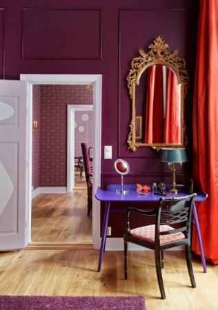 Vivid walls and contrasting fabrics provide the wow factor