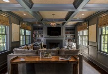 Marvelous coffered ceiling highlights this room