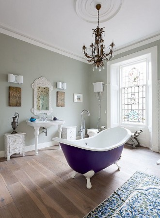 Standout tub in this beautiful bathroom