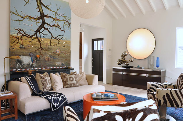 Mixture of patterns and colors elevate this room