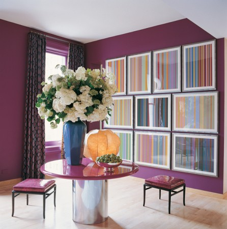 Purple walls radiate in this interior by Jamie Drake