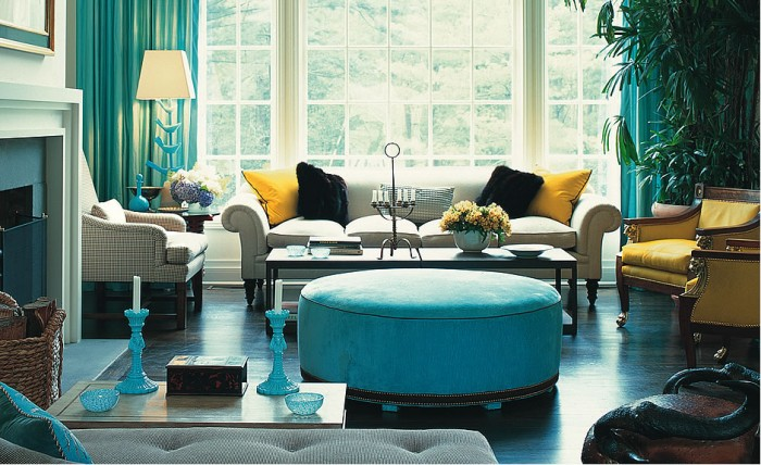 Bold blue highlights this Jamie Drake interior