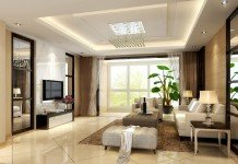 elegant living room enriched with mirrors