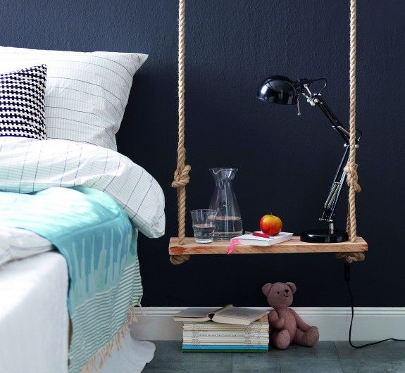 fantastic DIY nightstand created with an old swing