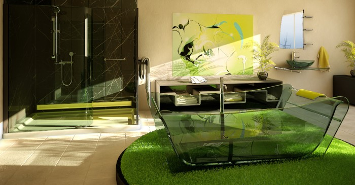 Wonderful clear glass tub and green make this bathroom stand out