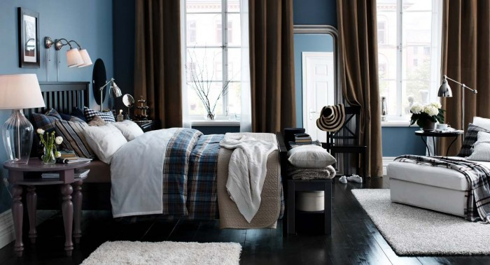 Brown and blue bedroom is refined and stylish