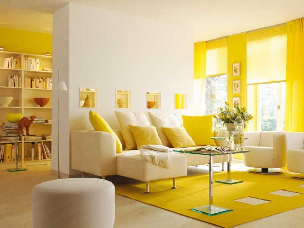 Yellow brightens this home