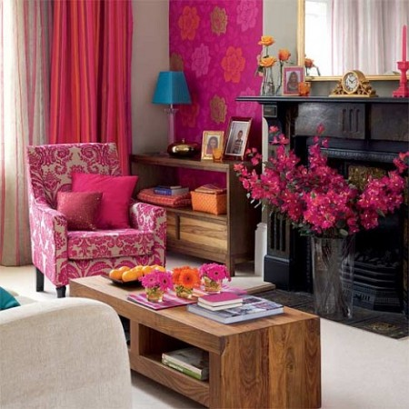 Fuchsia highlights this colorful room