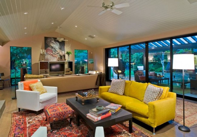 Yellow sofa adds a pop of color